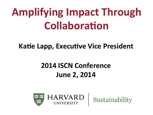 Amplifying  Impact  Through   Collabora6on   Ka6e  Lapp,  Execu6ve  Vice  President         2014  ...