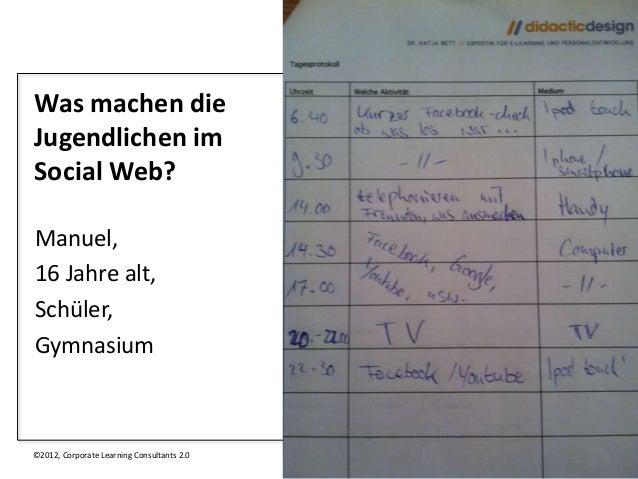 Was machen dieJugendlichen imSocial Web?Manuel,16 Jahre alt,Schüler,Gymnasium©2012, Corporate Learning Consultants 2.0   11