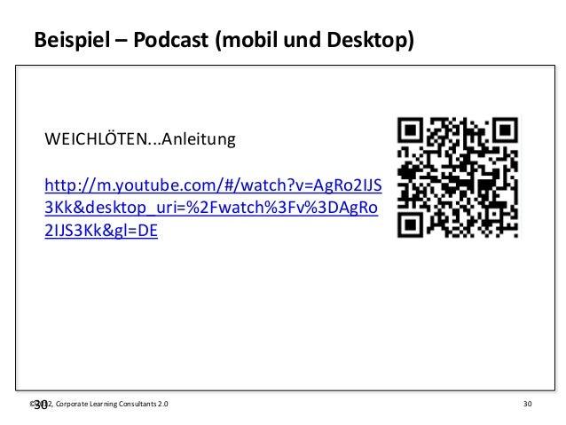 Beispiel – Podcast (mobil und Desktop)    WEICHLÖTEN...Anleitung    http://m.youtube.com/#/watch?v=AgRo2IJS    3Kk&desktop...