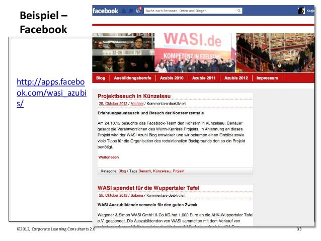 Beispiel – Facebookhttp://apps.facebook.com/wasi_azubis/©2012, Corporate Learning Consultants 2.0   33