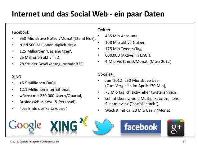 Internet und das Social Web - ein paar Daten                                              Twitter Facebook                ...