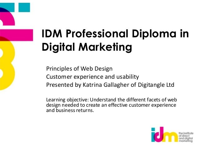 IDM Professional Diploma in Digital Marketing Principles of Web Design Customer experience and usability Presented by Katr...
