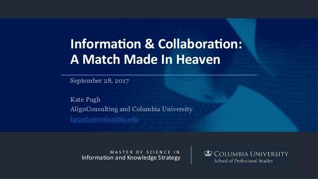 M A S T E R  O F  S C I E N C E  I N Informa3onandKnowledgeStrategy Informa(on&Collabora(on: AMatchMadeInH...