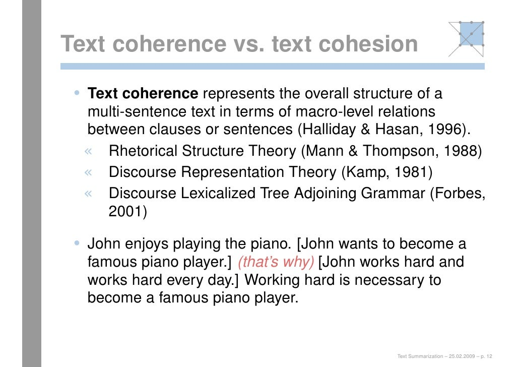 coherence halliday and hasan s theory A corpus-based study of conjunctions in mohsin  (based on halliday and hassan's theory) in mohsin hamid's novels, and to check the coherence in the text .