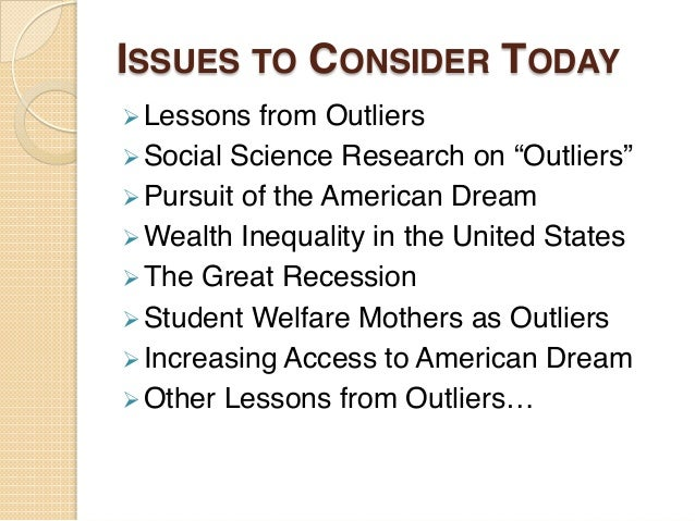 katz lecture outliers and the american dream