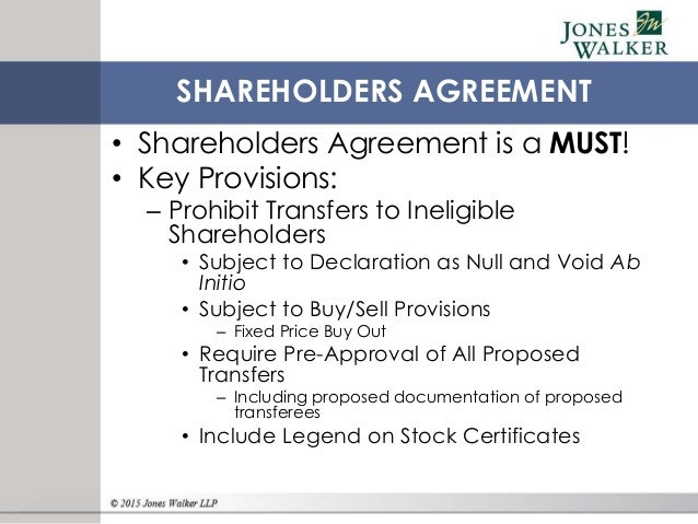 S Corporation Shareholders: Protecting What Is Near And Dear