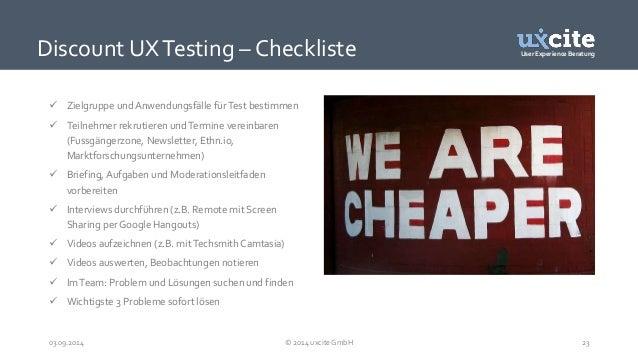 User Experience Beratung  Discount UX Testing – Checkliste   Zielgruppe und Anwendungsfälle für Test bestimmen   Teilneh...