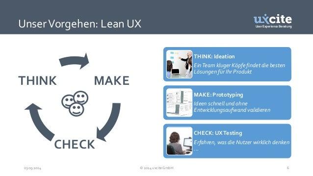 User Experience Beratung  Unser Vorgehen: Lean UX  THINK: Ideation  Ein Team kluger Köpfe findet die besten  Lösungen für ...