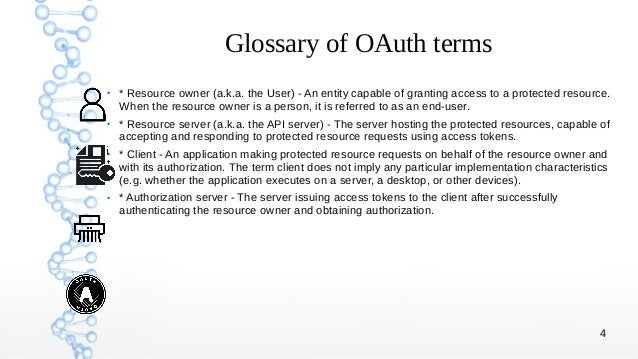 4 Glossary of OAuth terms ● * Resource owner (a.k.a. the User) - An entity capable of granting access to a protected resou...