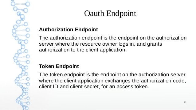 6 Oauth Endpoint Authorization Endpoint The authorization endpoint is the endpoint on the authorization server where the r...