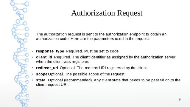 9 Authorization Request The authorization request is sent to the authorization endpoint to obtain an authorization code. H...
