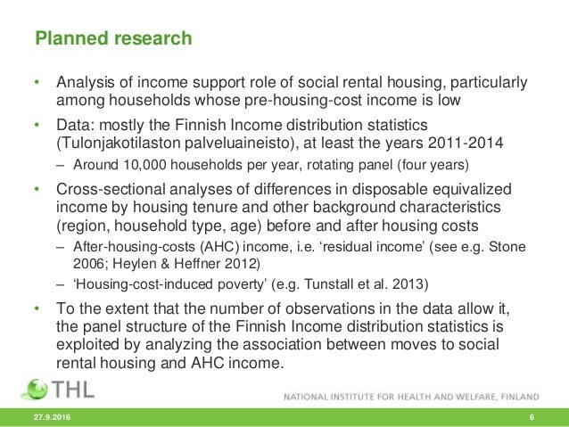 • Analysis of income support role of social rental housing, particularly among households whose pre-housing-cost income is...