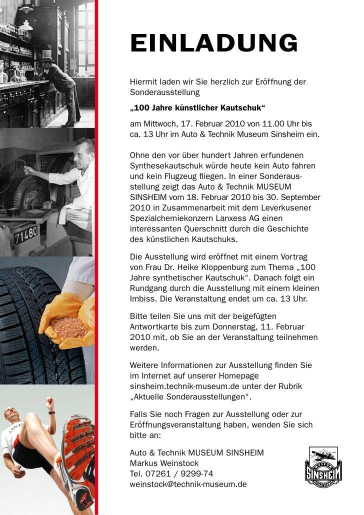 """EINLADUNGHiermit laden wir Sie herzlich zur Eröffnung derSonderausstellung""""100 Jahre künstlicher Kautschuk""""am Mittwoch, 17..."""