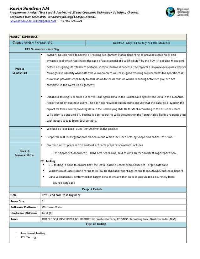kavin sandron cognizant resume1