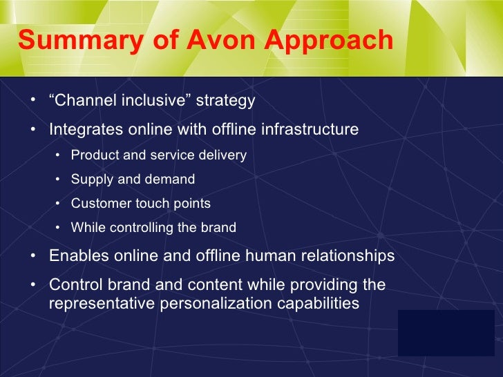 avon case study This case study was developed by win-win strategies in support of the investing  in women initiative, a collaboration platform providing.