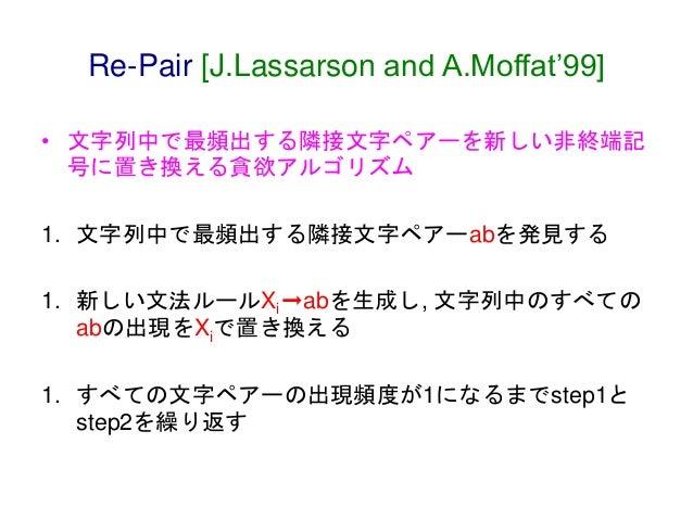 Re-Pair [J.Lassarson and A.Moffat'99] • 文字列中で最頻出する隣接文字ペアーを新しい非終端記 号に置き換える貪欲アルゴリズム 1. 文字列中で最頻出する隣接文字ペアーabを発見する 1. 新しい文法ルールX...