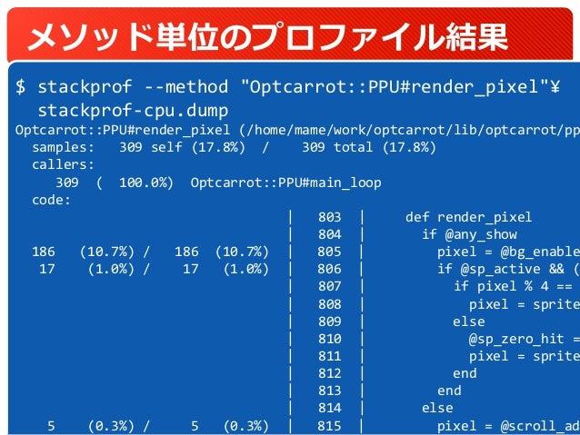 """メソッド単位のプロファイル結果 37 $ stackprof --method """"Optcarrot::PPU#render_pixel""""¥ stackprof-cpu.dump Optcarrot::PPU#render_pixel (/ho..."""