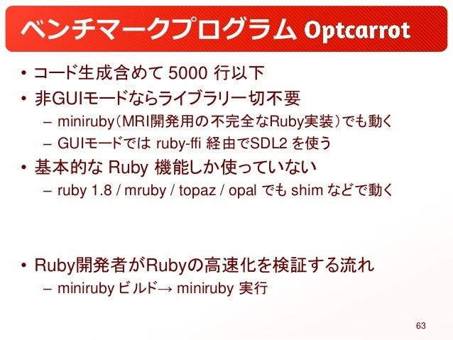 ベンチマークプログラム • コード生成含めて 5000 行以下 • 非GUIモードならライブラリ一切不要 – miniruby(MRI開発用の不完全なRuby実装)でも動く – GUIモードでは ruby-ffi 経由でSDL2 を使う • 基...
