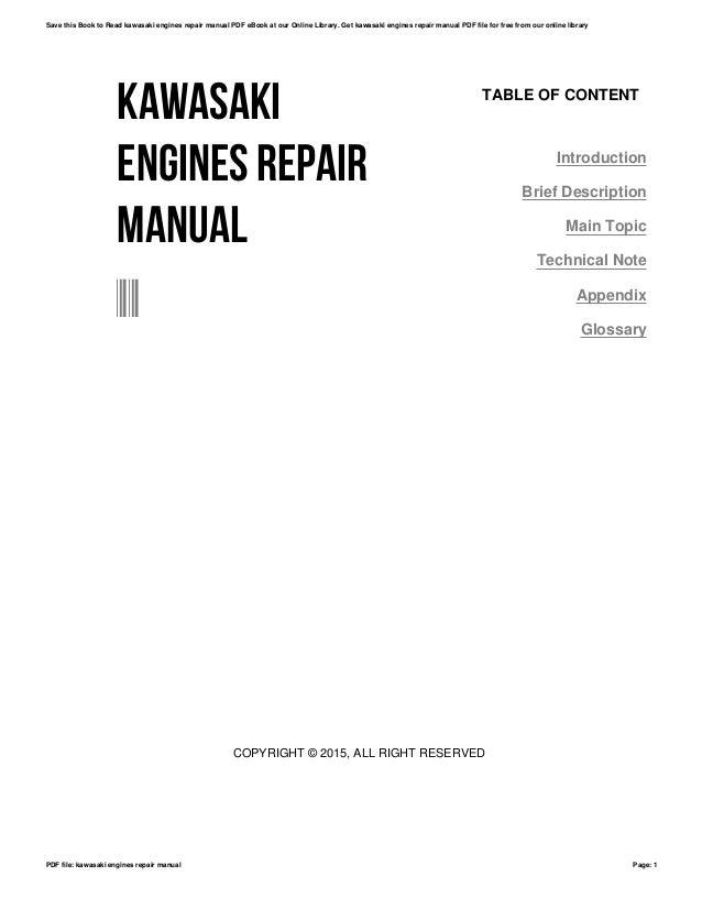kawasaki engines repair manual rh slideshare net kawasaki engine repair manuals online kawasaki engine repair manual download free