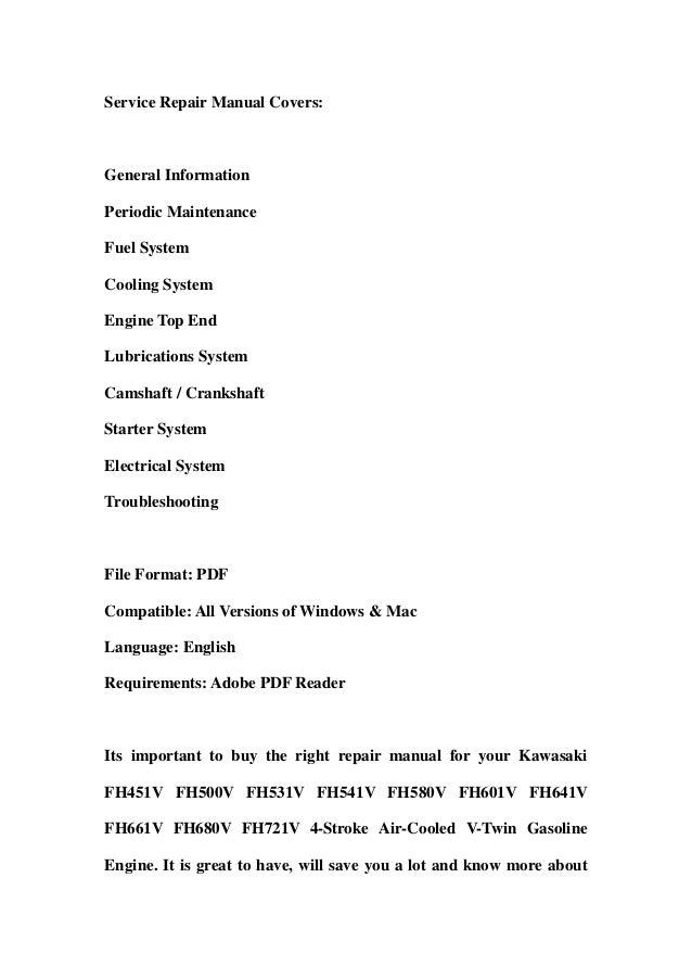 kawasaki fh451 v fh500v fh531v fh541v fh580v fh601v fh641v fh661v fh6 rh slideshare net kawasaki fh541v owners manual kawasaki fh541v service manual