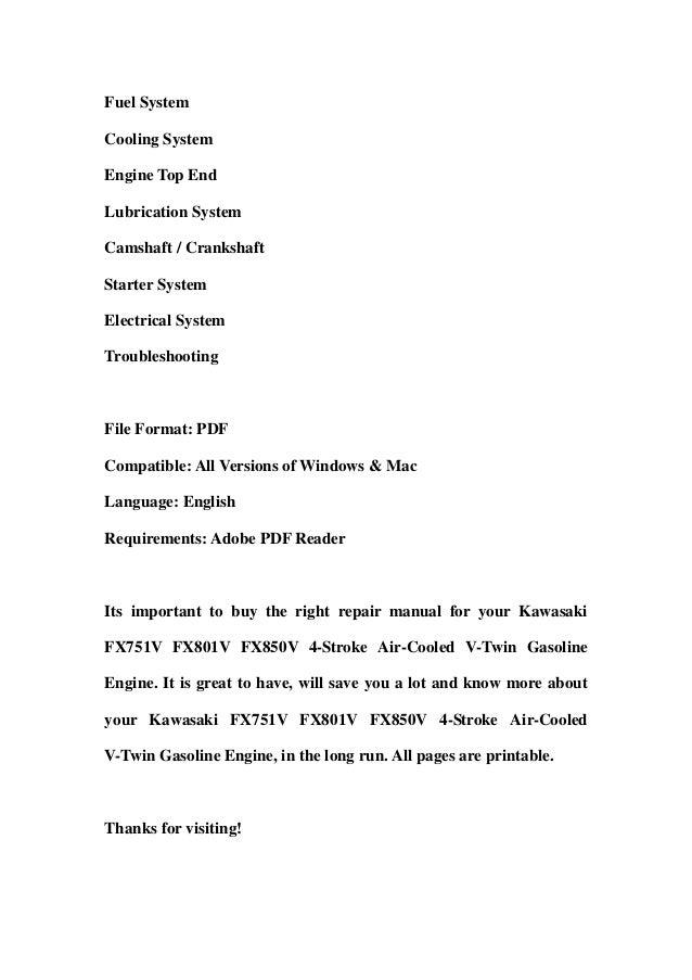 Kawasaki fx751 v fx801v fx850v 4 stroke air-cooled v-twin gasoline engine service repair workshop manual download Slide 2