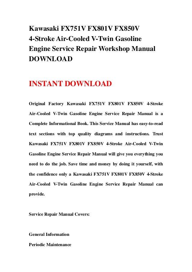 Kawasaki fx751 v fx801v fx850v 4 stroke air-cooled v-twin ... on