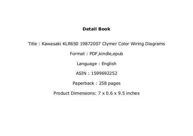 klr 650 wiring diagram kawasaki klr650 color textbook   kawasaki klr650 19872007 clymer color wiring diagrams   fu     19872007 clymer color wiring diagrams