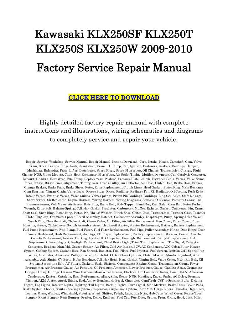 Kawasaki klx250 klx250r klx300r workshop service repair.