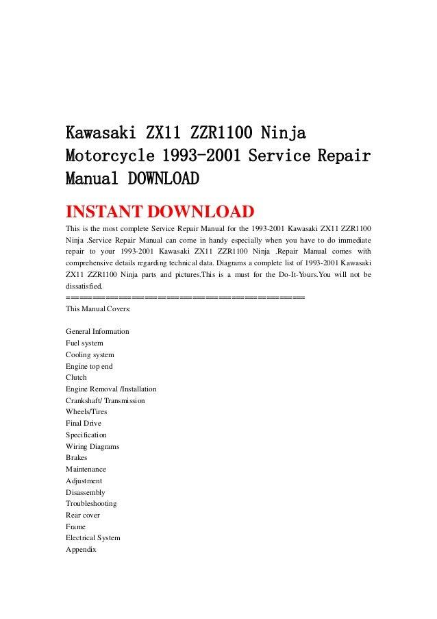 kawasaki zx11 zzr1100 ninja motorcycle 1993 2001 service repair manua rh slideshare net kawasaki zzr 1100 manual pdf kawasaki zzr1400 manual