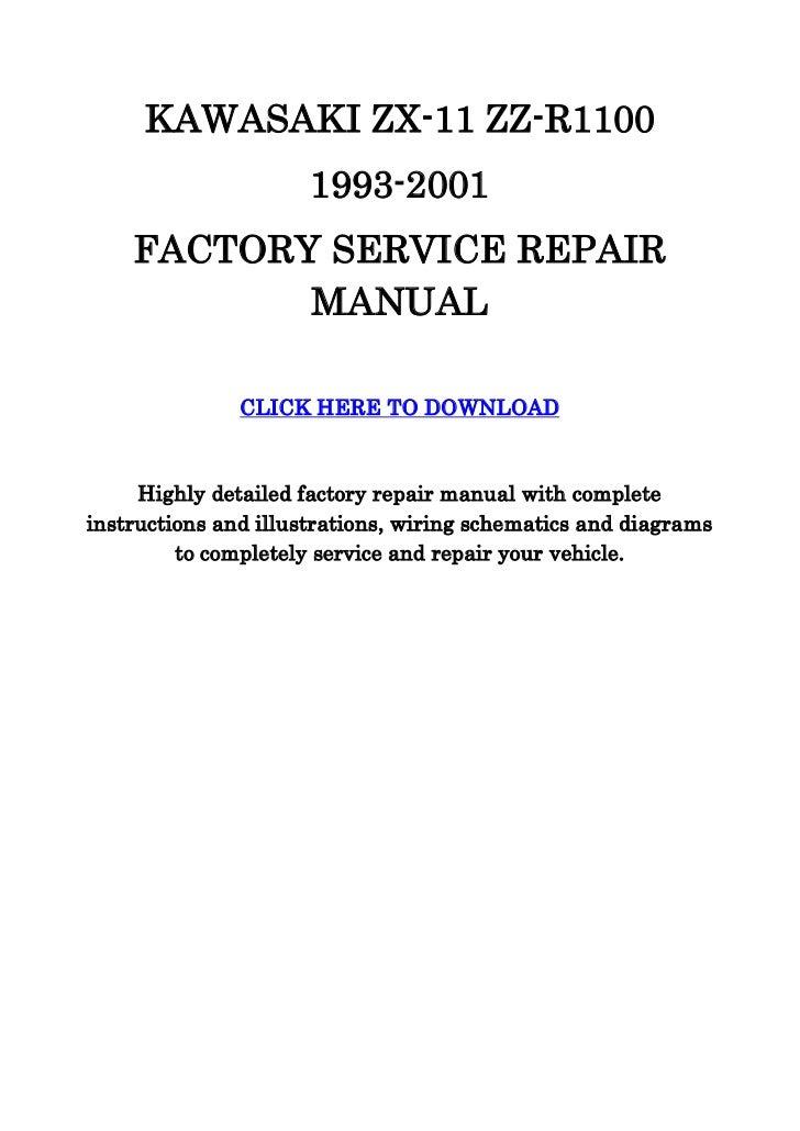 Kawasaki zx11 zzr1100 service manual on