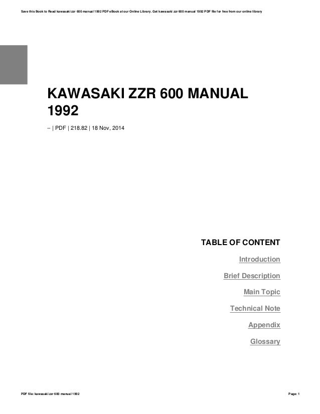 Kawasaki zzr 600 manual 1992