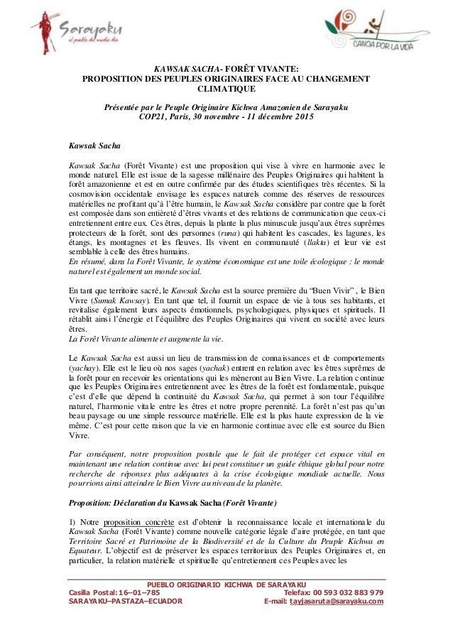 PUEBLO ORIGINARIO KICHWA DE SARAYAKU Casilla Postal: 16–01–785 Telefax: 00 593 032 883 979 SARAYAKU–PASTAZA–ECUADOR E-mail...