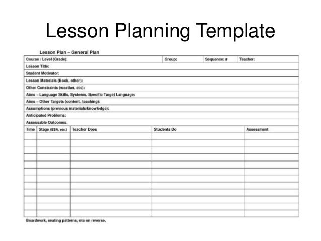 lesson preparation template - lesson planning homework assessment for session with