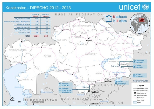 DIPECHO 2012 - 2013 country level school map - Kazakhstan