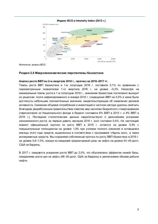 5 Индекс BCG e-Intensity Index (2015 г.) Источник: анализ BCG. Раздел 2.0 Макроэкономические перспективы Казахстана Анализ...