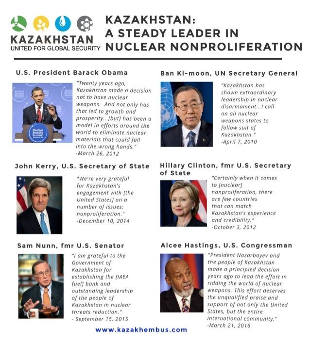 '$@0  KAZAKHSTAN  KAZAKHSTAN:  A STEADY LEADER IN  umreo FORGLOBALSECURITY N UCLEAR NON PROLI FERATION  U. S. President Ba...