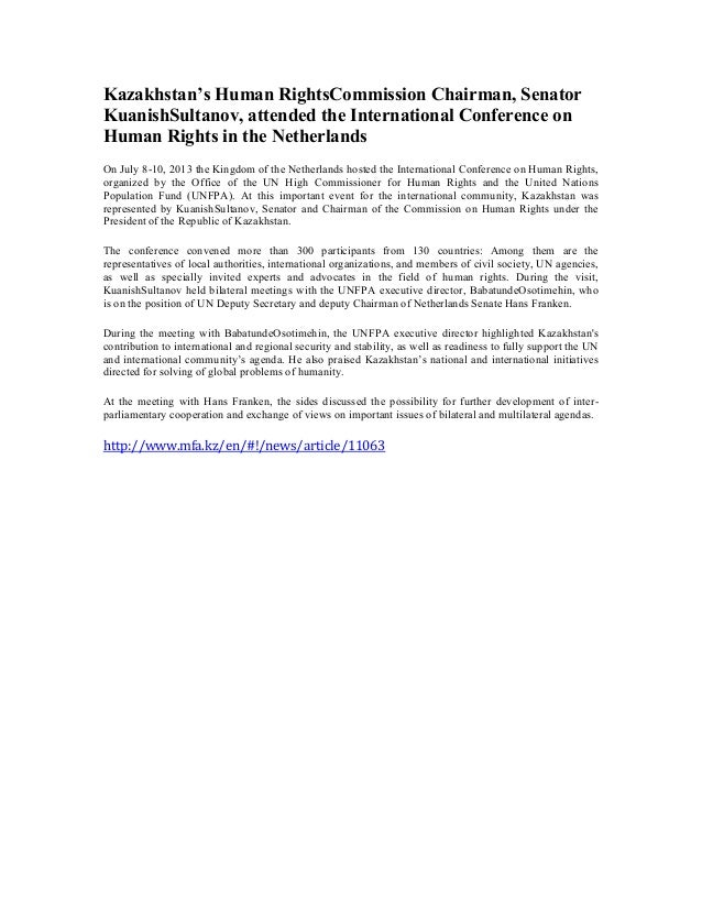 Kazakhstan's Human RightsCommission Chairman, Senator KuanishSultanov, attended the International Conference on Human Righ...
