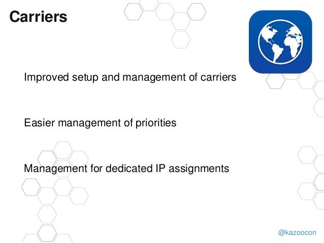 @kazoocon Carriers Improved setup and management of carriers Easier management of priorities Management for dedicated IP a...