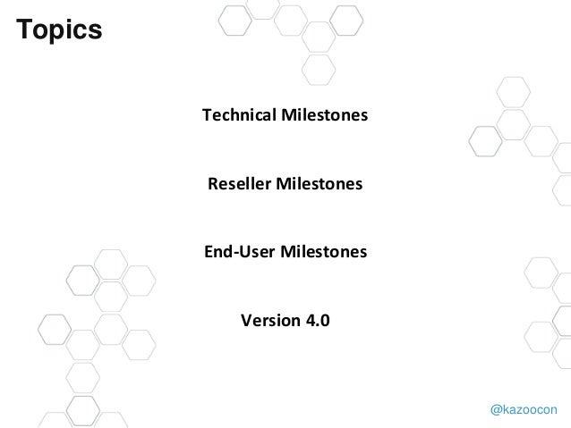@kazoocon Topics Technical Milestones Reseller Milestones End-User Milestones Version 4.0