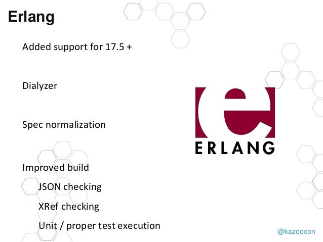 @kazoocon Erlang Added support for 17.5 + Dialyzer Spec normalization Improved build JSON checking XRef checking Unit / pr...