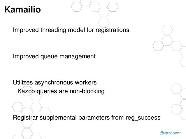 @kazoocon Kamailio Improved threading model for registrations Improved queue management Utilizes asynchronous workers Kazo...