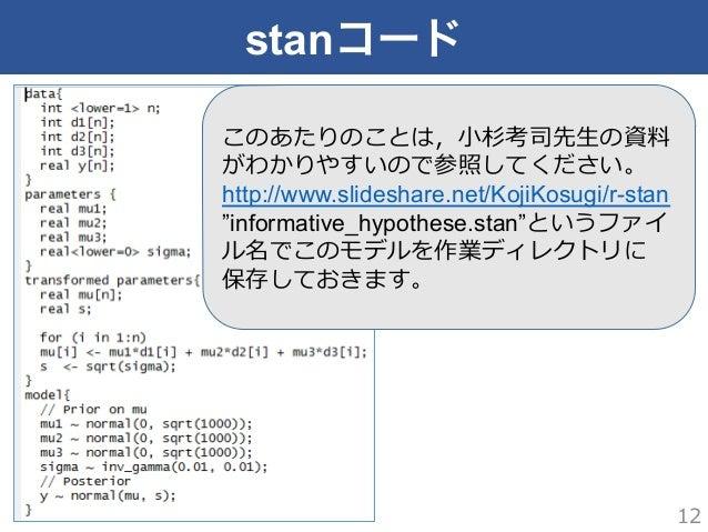 """stanコード 12 このあたりのことは,⼩小杉考司先⽣生の資料料 がわかりやすいので参照してください。 http://www.slideshare.net/KojiKosugi/r-stan """"informative_hypothese.st..."""