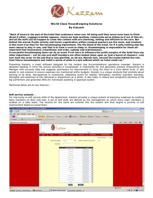Kazzam housekeeping software