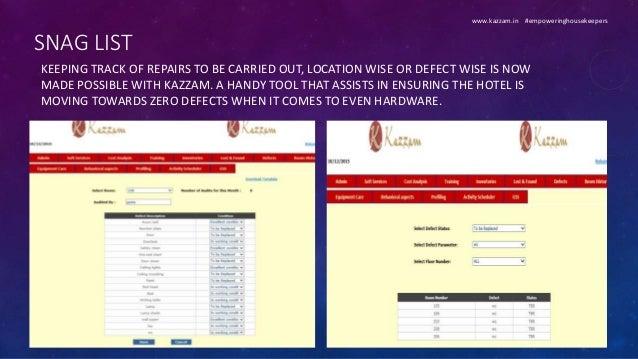 Kazzam - Housekeeping software