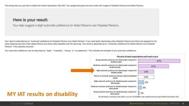 @karenbachmann Know Thyself: Managing Bias #UXPA2018 16 MY IAT results on disability