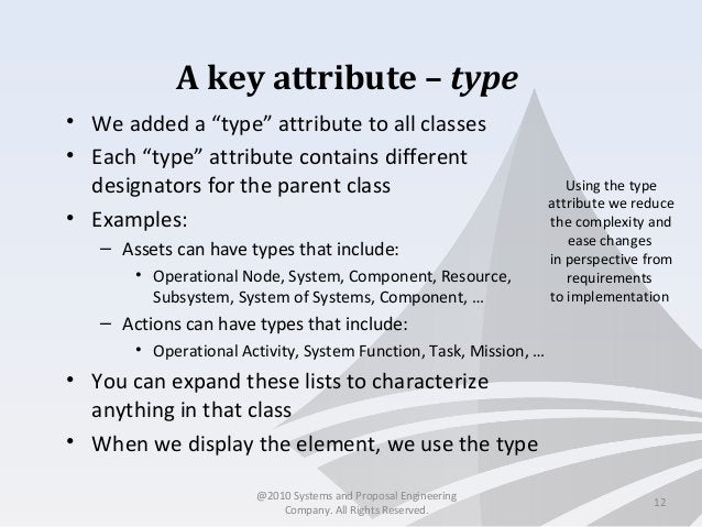 """A key attribute – type • We added a """"type"""" attribute to all classes • Each """"type"""" attribute contains different designators..."""
