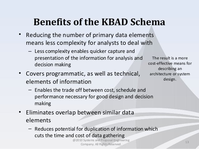 Benefits of the KBAD Schema • Reducing the number of primary data elements means less complexity for analysts to deal with...