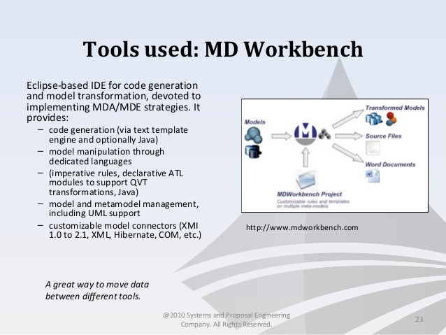 Tools used: MD Workbench Eclipse-based IDE for code generation and model transformation, devoted to implementing MDA/MDE s...