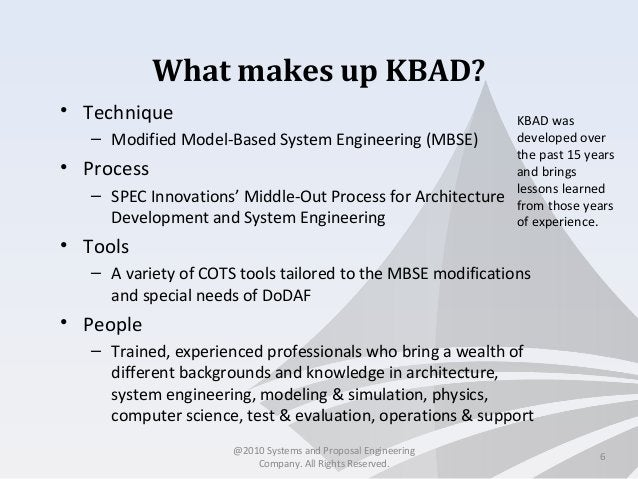 What makes up KBAD? • Technique – Modified Model-Based System Engineering (MBSE) • Process – SPEC Innovations' Middle-Out ...
