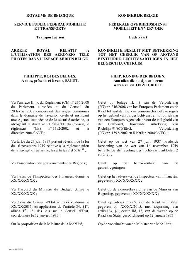 Version 20150508 ROYAUME DE BELGIQUE KONINKRIJK BELGIE SERVICE PUBLIC FEDERAL MOBILITE ET TRANSPORTS FEDERALE OVERHEIDSDIE...